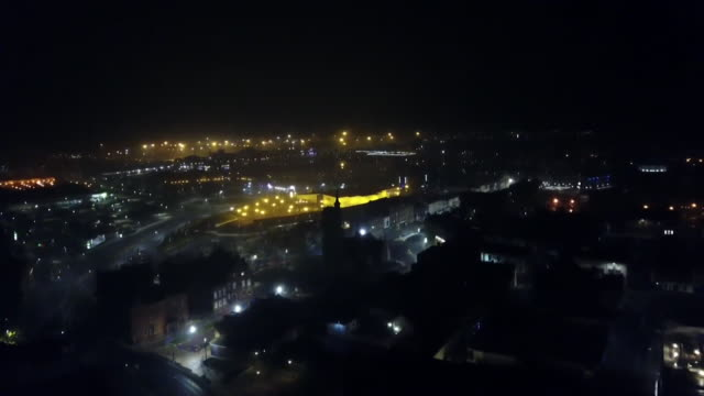 vidéos et rushes de aerial of hartlepool at night - ville moyenne