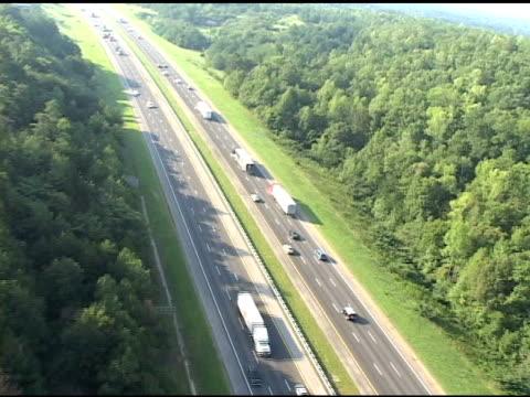 aerial of highway - american interstate stock videos & royalty-free footage