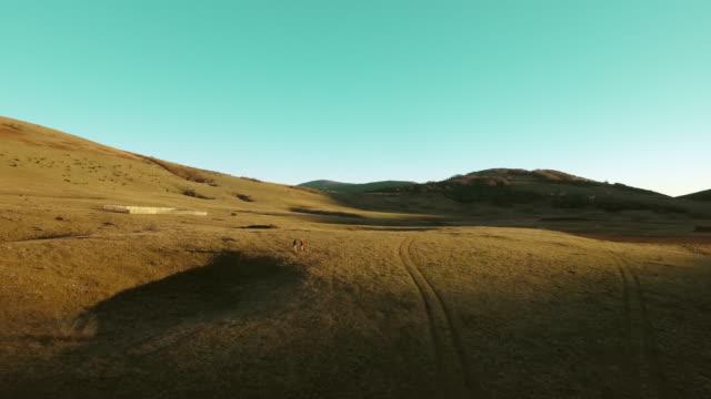 カップルのハイキングの空中 - 草地点の映像素材/bロール