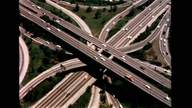 Aerial of Hollywood freeway system / section referred to as Prayer Pass Cloverleaf highway exchange on January 01 1956 in Hollywood California