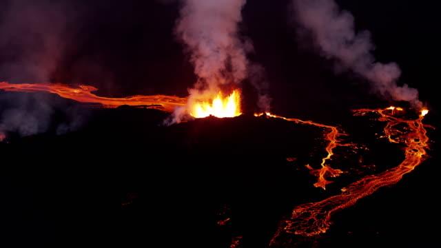 Aerial of Holuhraun volcano eruption Iceland