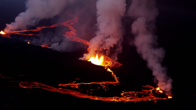 aerial of holuhraun volcano eruption iceland - tectonic stock videos & royalty-free footage