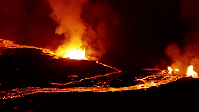Aerial of Holuhraun volcano eruption Iceland