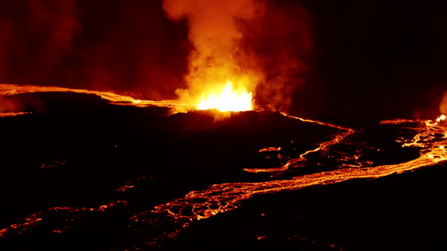aerial of holuhraun volcano eruption iceland - volcano stock videos & royalty-free footage