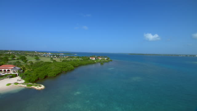 Aerial of homes and resorts on Antigua's Long Island in the Caribbean.