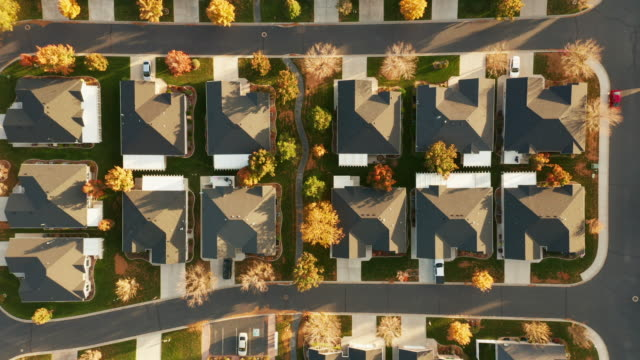 aerial of homes in autumn sunlight - houses in a row stock videos & royalty-free footage