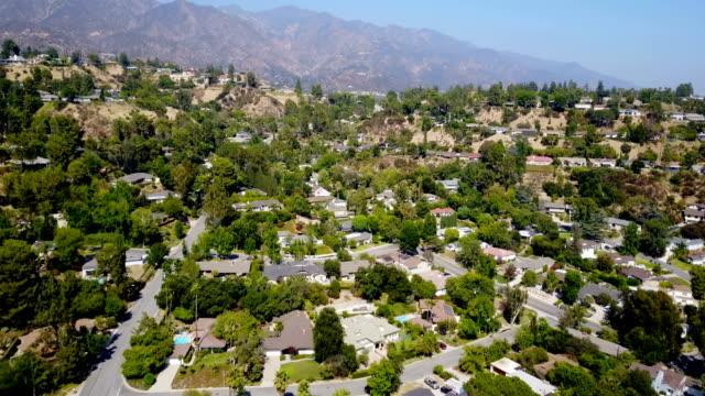 aerial of homes - pasadena california stock videos & royalty-free footage
