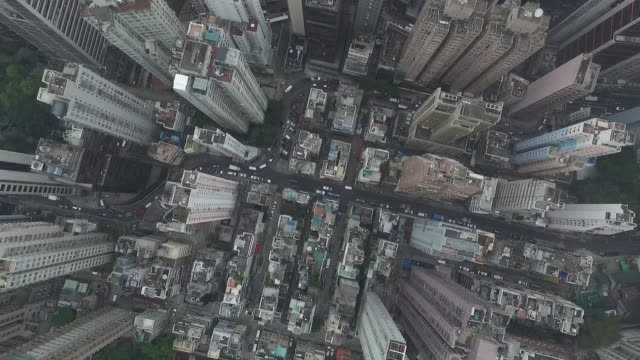 Aerial of Hong Kong Island skyscrapers from drone NO