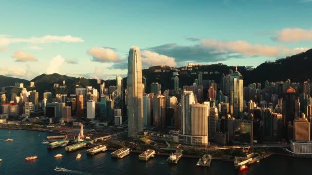antenne der skyline von hong kong - central bezirk hongkong stock-videos und b-roll-filmmaterial