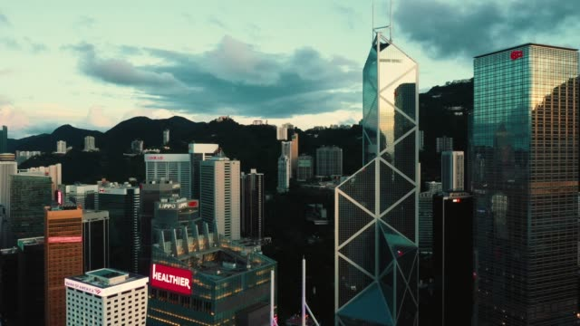 aerial of hong kong urban skyline - central district hong kong stock videos & royalty-free footage