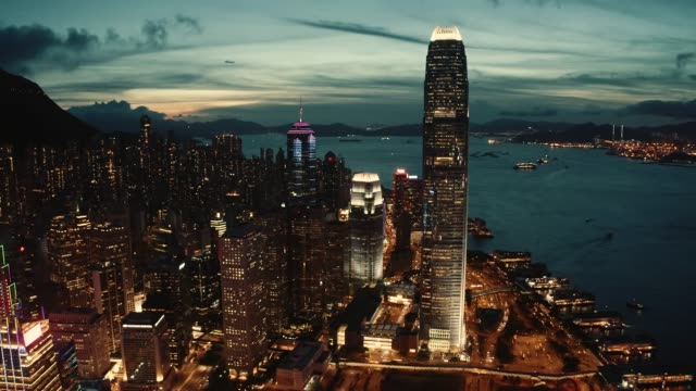 aerial of hong kong urban skyline - victoria harbour hong kong stock videos & royalty-free footage