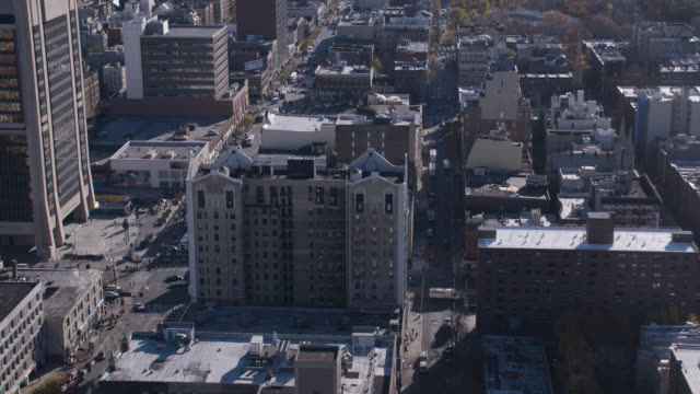 aerial of hotel theresa high rise building. multi-story office or apartment buildings in harlem city skyline.
