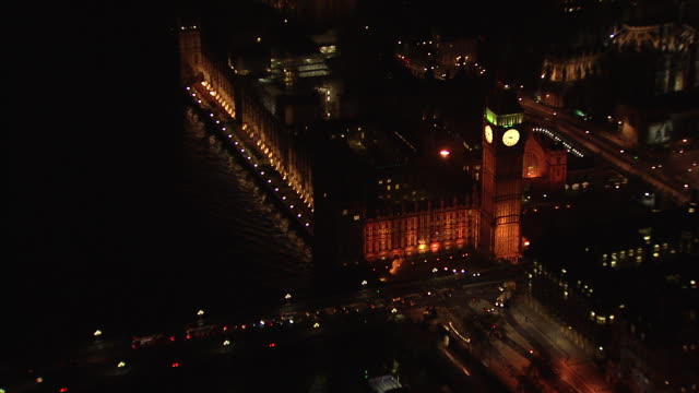 Aerial of Houses of Parliament and London Eye 180° with move on Big Ben.
