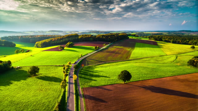 Aerial of idyllic countryside in Germany