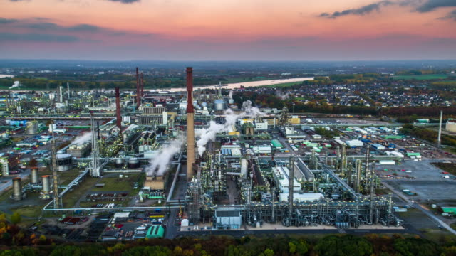 aerial of industrial park with oil refinery - chemistry stock videos & royalty-free footage