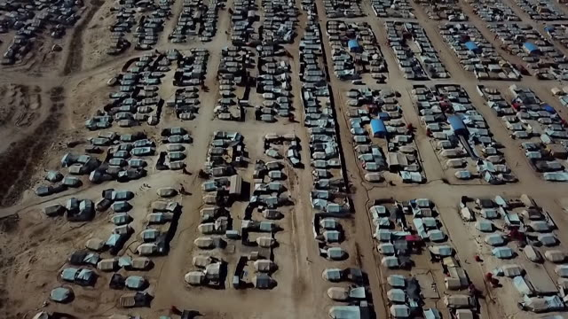aerial of isis detention camp in northern syria - prison camp stock videos & royalty-free footage