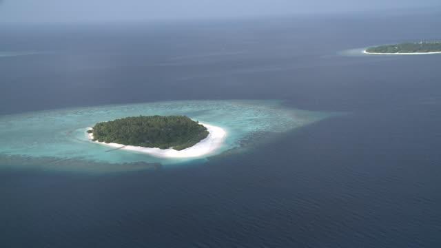 Aerial of island, Baa Atoll, The Maldives