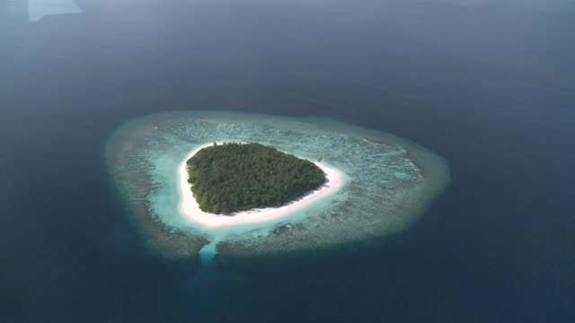 aerial of island, baa atoll, the maldives - remote location stock videos & royalty-free footage