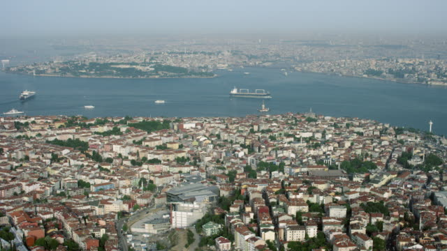 aerial of istanbul's european side - bosphorus stock videos and b-roll footage