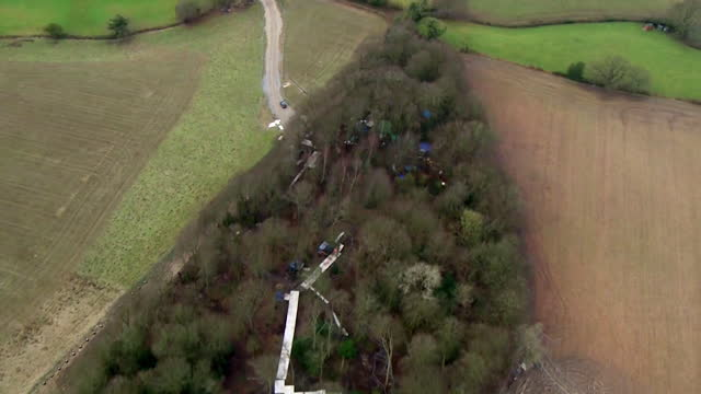 aerial of jones hill wood, buckinghamshire, part of ancient woodland is being cleared to make way for work on the hs2 high speed rail link - tree area stock videos & royalty-free footage