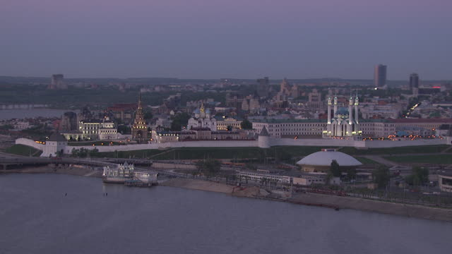 aerial of kazan city. kremlin. russia - 2013 stock videos & royalty-free footage