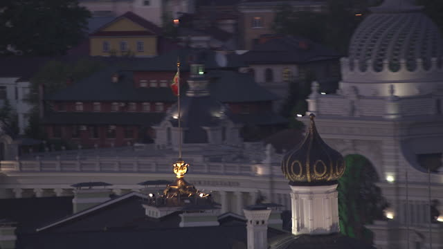 aerial of kazan kremlin, russia - moscow russia stock videos & royalty-free footage