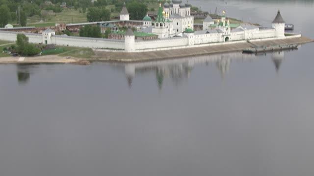 aerial of kazan kremlin. volga river, russia - kazan russia stock videos and b-roll footage