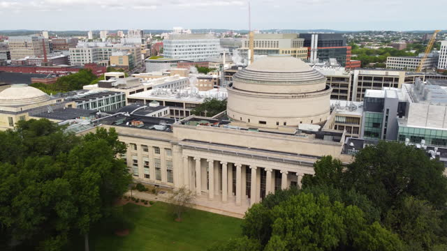 aerial of killian court and mit university campus massachusetts institute of technology on august 27, 2021 in cambridge, massachusetts. the mit is a... - 10 seconds or greater stock videos & royalty-free footage