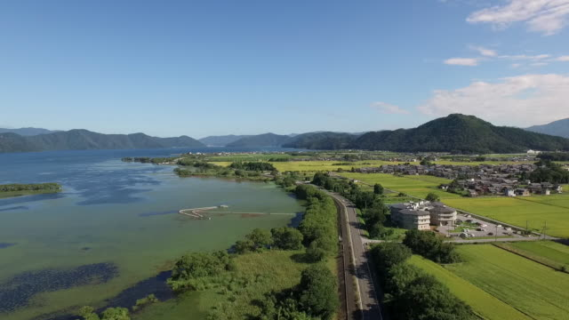 aerial of lake biwa and rice fields - shiga prefecture stock videos & royalty-free footage