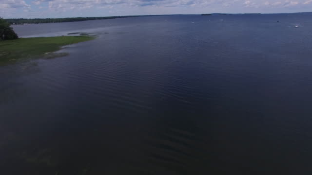 4K aerial of Lake Champlain, Vermont in the summer