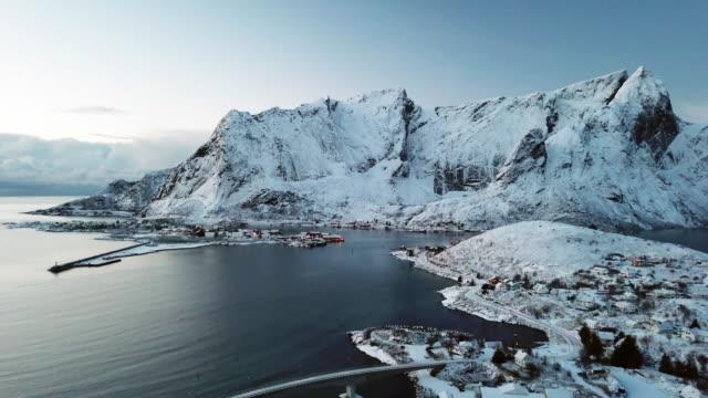 Aerial of landscape in Lofoten Islands,Norway