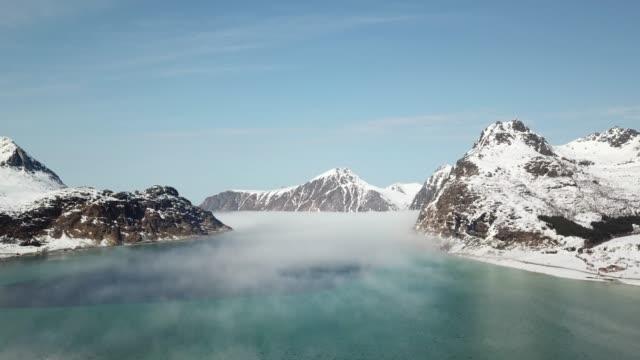 aerial of landscape in lofoten islands,norway - fjord stock videos & royalty-free footage