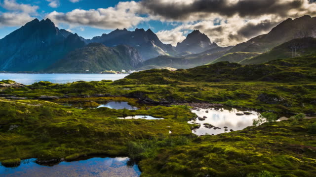 Aerial of landscape in Norway, Lofoten Islands