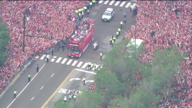 WGN Aerial of Large Crowds At Blackhawks Stanley Cup Parade on June 18 2015 in Chicago Illinois
