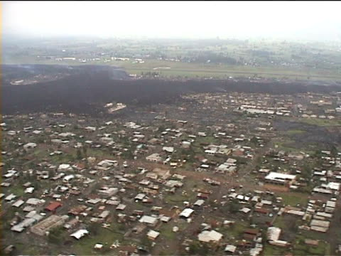 aerial of lava flow through town. Goma, 2002, DRC