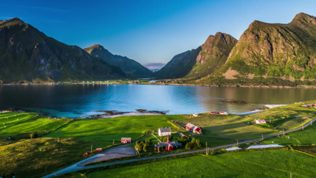 aerial of lofoten islands fjord - horizontal stock videos & royalty-free footage