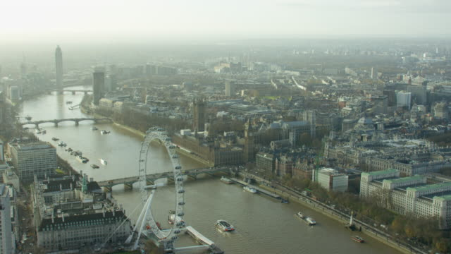 Aerial of London Eye in Capital city of England