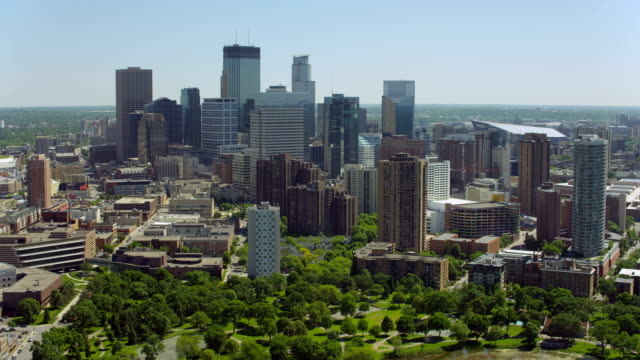aerial of loring park and downtown minneapolis - minnesota stock videos & royalty-free footage