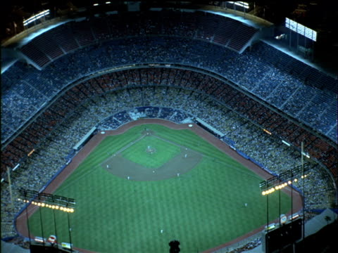 Aerial of Los Angeles Dodger Stadium during a baseball game.