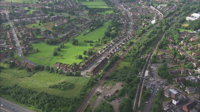 aerial of m25 motorway in south london - m25 video stock e b–roll