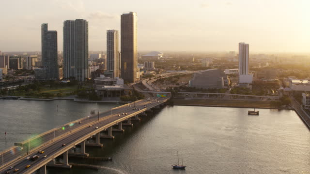 aerial of macarthur causeway, downtown miami late afternoon, fl - miami dade county stock videos and b-roll footage