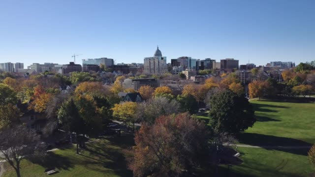 aerial of madison wisconsin- downtown/ gorham street - wisconsin stock videos & royalty-free footage
