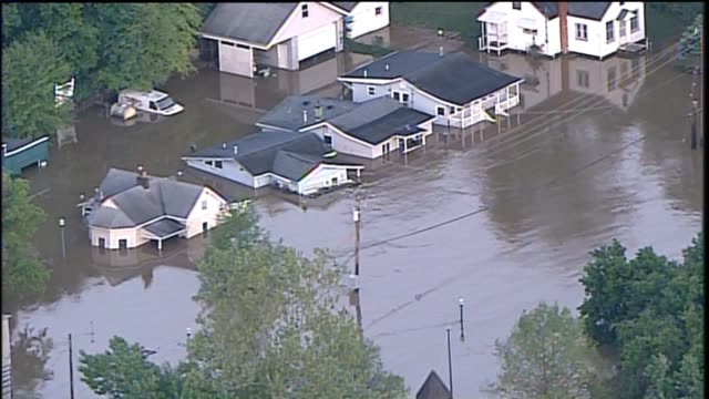 KTVI Aerial of Major Flooding with Houses Roads Trees Submerged Underwater in Alton Illinois after heavy rainfall on May 5 2017