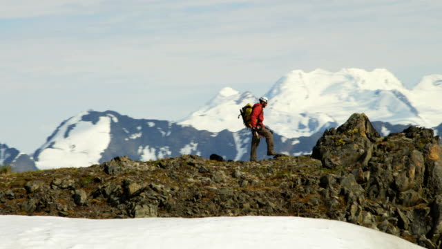 Aerial of male mountain climber, Alaska, USA