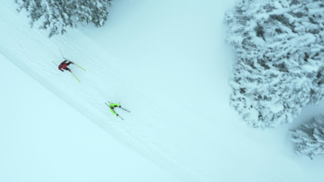 aerial of man and woman on cross country skiing track - nordic skiing event stock videos and b-roll footage