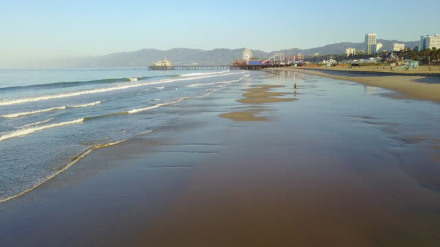 aerial of man walking on the beach - santa monica pier stock videos & royalty-free footage