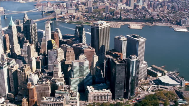aerial of manhattan financial district, new york - money politics stock videos & royalty-free footage