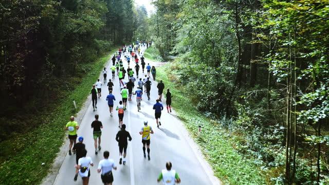 vídeos de stock, filmes e b-roll de aerial of marathon going through a tree surrounded countryside road - maratona