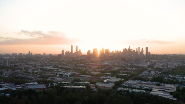 aerial of melbourne skyline at sunset - natural parkland stock videos & royalty-free footage