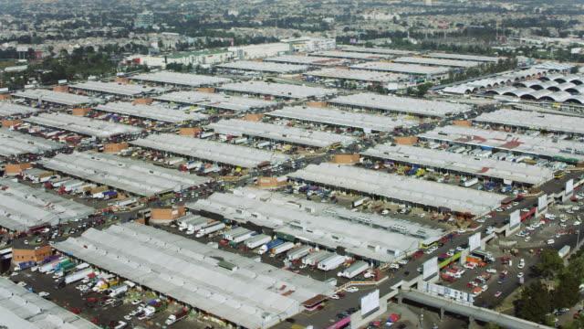 aerial of mexico city's central de abastos - central de abastos stock videos & royalty-free footage